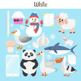 White. Learn the color. Education set. Illustration of primary c Royalty Free Stock Images