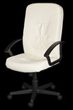 White leather armchair. Isolated on black background Royalty Free Stock Photos