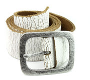 White leather belt Stock Images