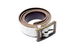 White leather belt Stock Photos