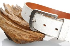 White leather belt Royalty Free Stock Photo