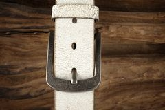White leather belt Stock Photo