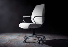 White Leather Boss Office Chair in the Volumetric Light. 3d Rend Royalty Free Stock Photos