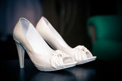 White leather bride shoes Royalty Free Stock Image