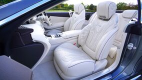 White Leather Car Bucket Seat Stock Photos