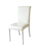 White leather chair isolated Stock Photo