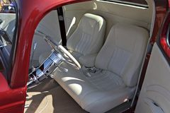 White leather custom interior for car. Stock Photo