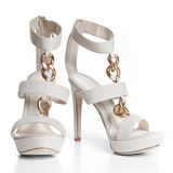 White leather female shoes on high heels Royalty Free Stock Photo