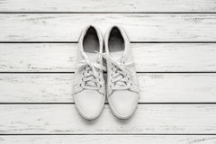 White leather gumshoes Royalty Free Stock Photography