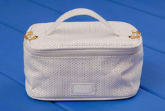 White leather handbag for cosmetics stock images