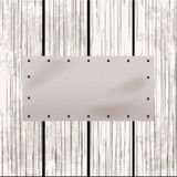 White leather label on distressed wood panel Stock Photo