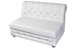 White leather modern banquette bench with storage space, isolate Stock Photo