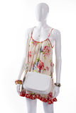 White leather purse on mannequin. Stock Image