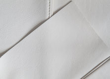 White leather samples. Detail of top-quality luxury white leather samples Macro photography Royalty Free Stock Images