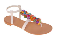 White leather sandals Royalty Free Stock Photo