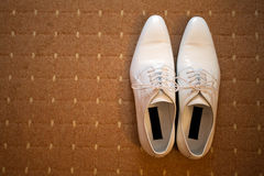 White leather shoes Stock Photos