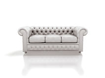 White leather sofa Stock Images