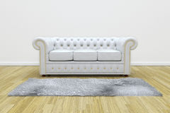 White leather sofa. 3D render of white leather sofa and white carpet on wooden parquet Stock Photos