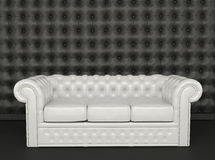 White leather sofa on a black background. Club. Buttoned. Luxurious. Modern Royalty Free Illustration