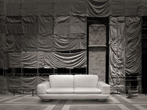 White leather sofa canvas background Stock Photos