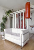 White leather sofa in the modern living room Stock Image
