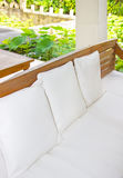 white leather sofa with pillows Stock Photos