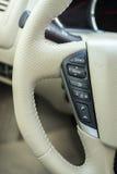 White leather steering wheel car Royalty Free Stock Photo