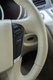 White leather steering wheel car Stock Photo