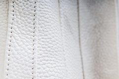 White leather stitches Stock Photos