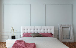 White leather upholstered bedroom suite Stock Photo