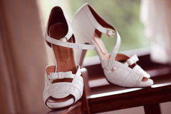 White leather woman's sandals Stock Image
