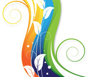 White leaves on abstract rainbow background Stock Photo