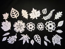 White leaves anf flowers. Paper cutting. Royalty Free Stock Photo