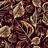 White leaves on a burgundy background, seamless pattern Royalty Free Stock Photography