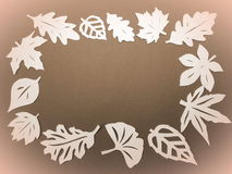 White leaves frame. Paper cutting Royalty Free Stock Images