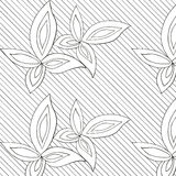White leaves hand drawn pattern. White leaves on lined background hand drawn pattern. Abstract design for fabrics, clothes Stock Image