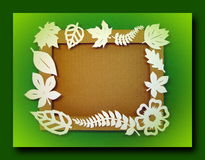White leaves. Paper cutting. Stock Photo