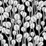 White leaves on twigs, black seamless pattern stock illustration