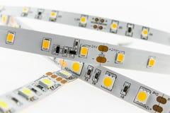 White LED strips for voltage 12V and 24V with adjustable Stock Images