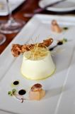White Leek Panna Cotta with Shallots Stock Images