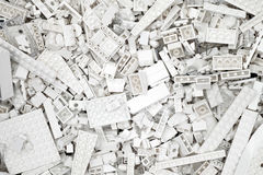 White Lego blocks, bricks and pieces Stock Image