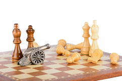 White lesions on the chessboard Stock Photography