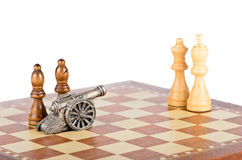 White lesions on the chessboard Royalty Free Stock Image