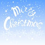 White lettering Happy Merry Christmas on blue sky background. White lettering Merry Christmas on blue sky background, white snow-flakes, vector illustration Stock Image