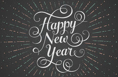 White lettering Happy New Year for greeting card. On chalk board background. Vector illustration Stock Photo
