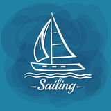 White Lettering Sailing Sailboat Stock Images