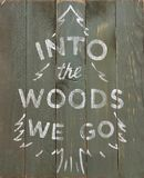 White lettering Into the Woods we go on a dark olive olive worn wooden board depicting spruce royalty free stock photography