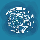 White Lettering Yachting Club Seashell Royalty Free Stock Images
