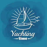 White Lettering Yachting Time Sailboat Stock Image