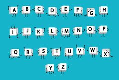 White letters of alphabet on keyboard laptop computer with legs and arms like funny little men on blue background. Characters english letter on buttons vector illustration